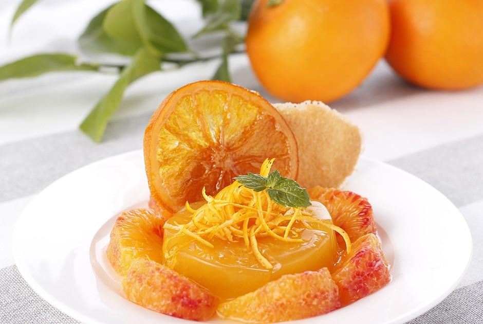 ブラッドオレンジの飾り盛り